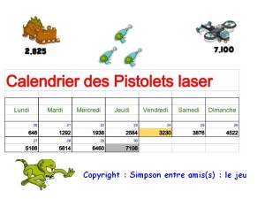 calendrier des pistolets laser