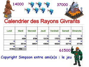 calendrier des rayons givrants