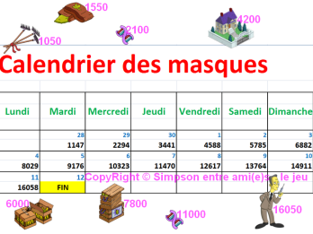 calendrier des masquescomplet