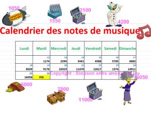 Calendrier des notes de musique