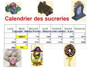 calendrier des sucreries