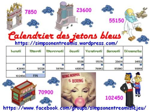 calendrier des jetons bleus