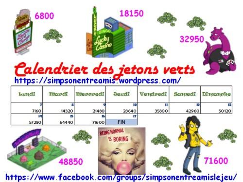 calendrier des jetons verts