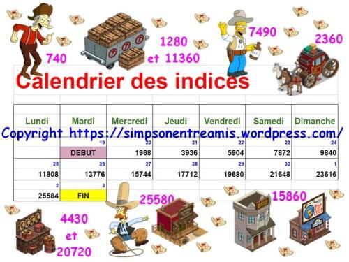 calendrier des indices