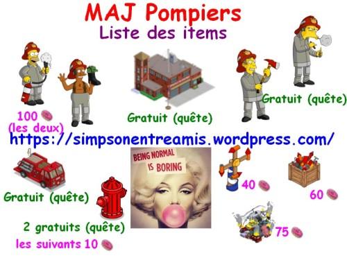 maj pompiers items