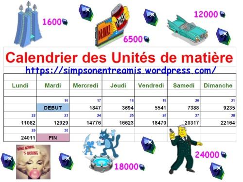 calendrier des unités de matière