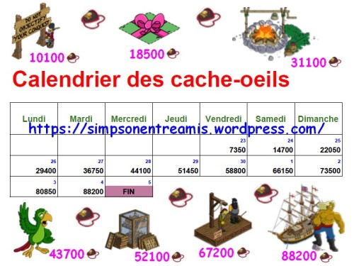 calendrier cache oeeils