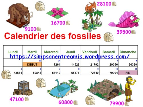 calendrier des fossiles
