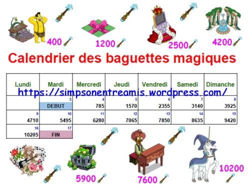 calendrier des baguettes magiques