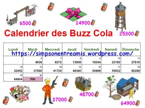 calendrier des buzz cola