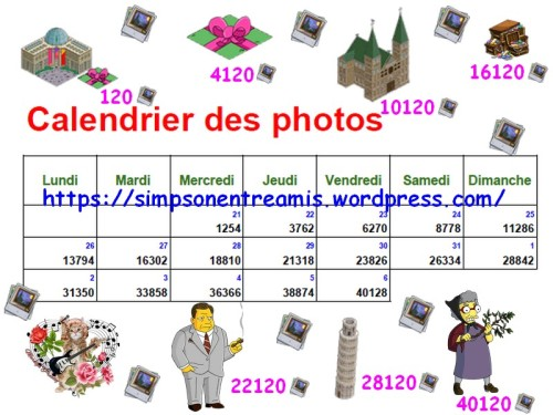 calendrier des photos