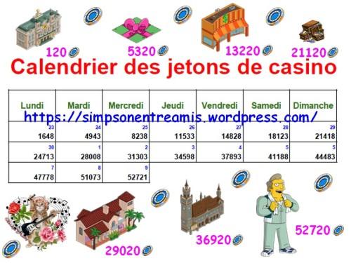 calendrier des jetons de casino