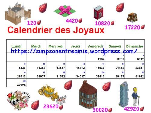 calendrier des joyaux