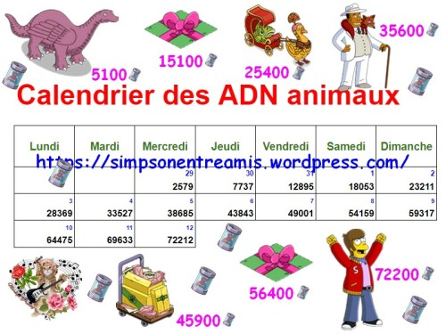 calendrier des adn animaux
