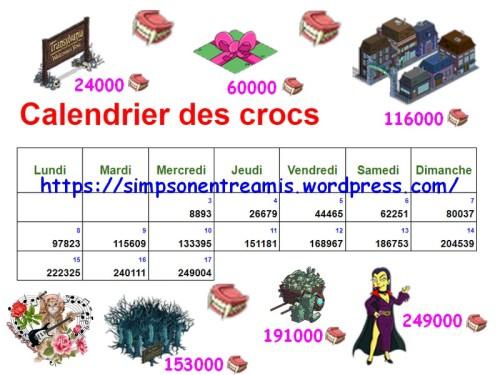 calendrier des crocs